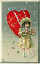 VALENTINE GREETINGS  girl holds bouquet, large heart attached to her back with ribbons