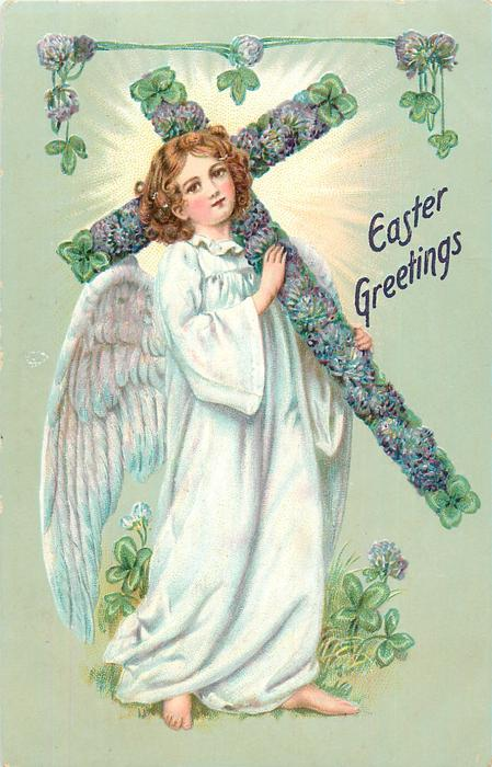 EASTER GREETINGS  angel carries cross to right