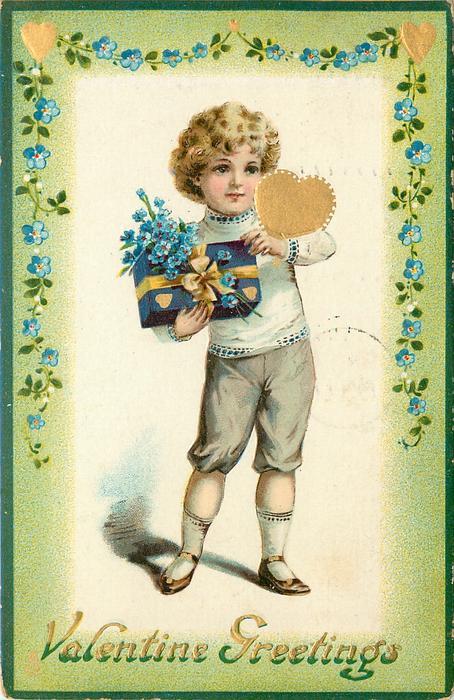 VALENTINE GREETINGS  boy holds present & gilt heart