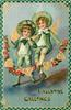 VALENTINE GREETINGS  two angels dressed as boys in green suits skip with rope of roses & hearts