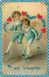 TO MY VALENTINE  two angels dressed in blue as boys skip with rope of forget-me-nots and hearts