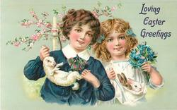 LOVING EASTER GREETINGS  boy holds bunny by ears & legs, girl has two bunnies in apron