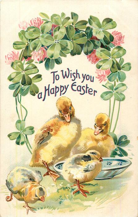 TO WISH YOU A HAPPY EASTER  two ducklings & two chicks with bowl under clover