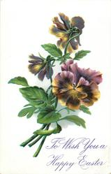 TO WISH YOU A HAPPY EASTER  pansies, three purple/yellow blooms upper two face away, three stems at lower left