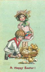 A HAPPY EASTER!  boy kneels next to nest of chicks, girl has Easter eggs in dress