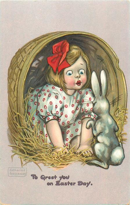 TO GREET YOU ON EASTER DAY  girl in basket looks at rabbit in front of her
