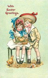 WITH EASTER GREETINGS  girl sits on bench, chicks on her lap, boy stands right, chick on ground