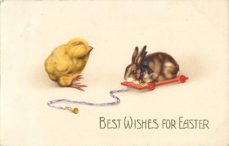BEST WISHES FOR EASTER  chick left, rabbit on red trolley right