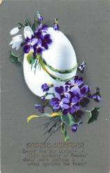 EASTER GREETING  white egg & violets