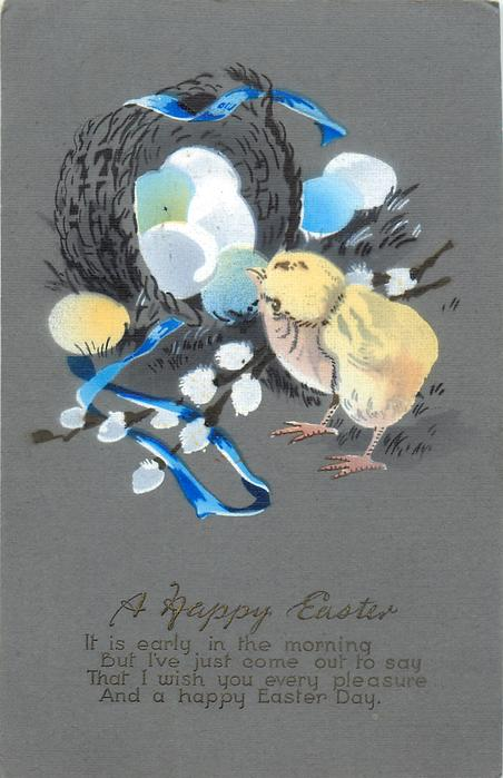 A HAPPY EASTER  basket on its side, chick & EASTER eggs, deep grey background