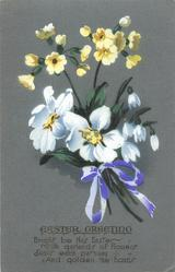 EASTER GREETING  bunch of primroses, narcissi & snowdrops