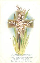 A JOYFUL EASTERTIDE  lilies-of-the-valley before brown cross