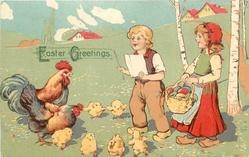 EASTER GREETINGS  two children, boy conducts a chorus of rooster, hen & six chicks
