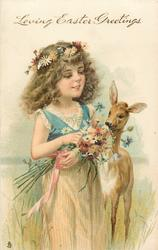 LOVING EASTER GREETINGS  girl dressed in cream skirt with blue top, holding flowers, deer right