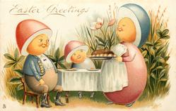 EASTER GREETINGS  Egg-Man & Egg-Child sit at table, Egg-Mother carries pudding