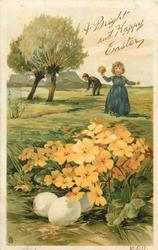 A BRIGHT AND HAPPY EASTER  girl and boy pick primroses, primroses over eggs in front