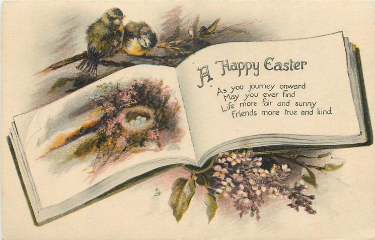 A HAPPY EASTER  blue-tits above rural inset & nest in book, lilac below