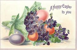 A HAPPY EASTER TO YOU  green wrapped bouquet of purple violets, purple, pink & two orange eggs
