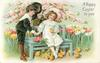 A HAPPY EASTER TO YOU  boy doffs hat and holds hand of girl seated on bench, she holds a chick