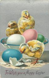 TO WISH YOU A HAPPY EASTER  three chicks, white, pink,and green eggs in white bowl, one blue egg & white shell on floor