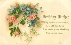 BIRTHDAY WISHES  pink moss roses & blue forget-me-nots