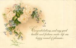 CONGRATULATIONS white roses & blue forget-me-nots