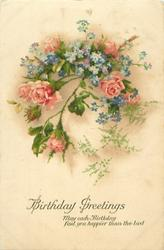 BIRTHDAY GREETINGS  pink moss roses & blue forget-me-nots