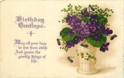 BIRTHDAY GREETINGS   vase of violets