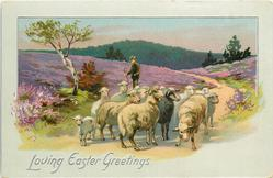 LOVING EASTER GREETINGS  rural sheep scene, man behind with crook, heather