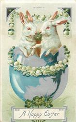 A HAPPY EASTER  two white rabbits sit in blue egg, garlands of lilies-of -the-valley
