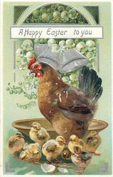 A HAPPY EASTER TO YOU  hen and seven chicks in front of brown wooden bowl