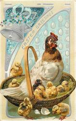 EASTER GREETINGS  hen and five chicks in basket with handle, chick on rim, two below