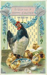 TO WISH YOU A HAPPY EASTER  hen and seven chicks around blue and white bowl