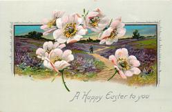 A HAPPY EASTER TO YOU  dog-rose blossoms in front of heather inset