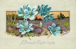 A PEACEFUL EASTER TO YOU  seven blue flowers in front of heather inset