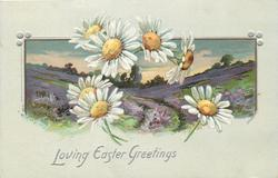 LOVING EASTER GREETINGS  seven white daisies with yellow center in front of heather inset