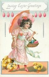 LOVING EASTER GREETINGS  girl in pink dress holds parasol in left hand, basket of eggs on left arm, chicks below