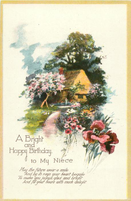 Incredible A Bright And Happy Birthday To My Niece Cottage Amp Flowers Personalised Birthday Cards Veneteletsinfo