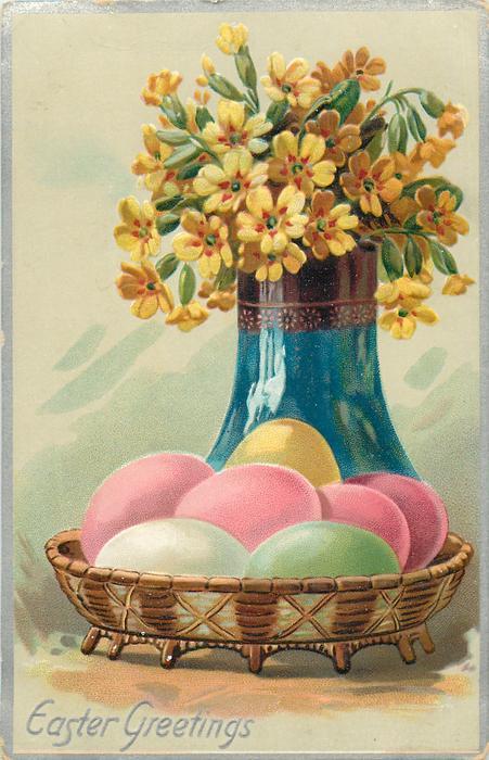 EASTER GREETINGS  primroses in blue vase