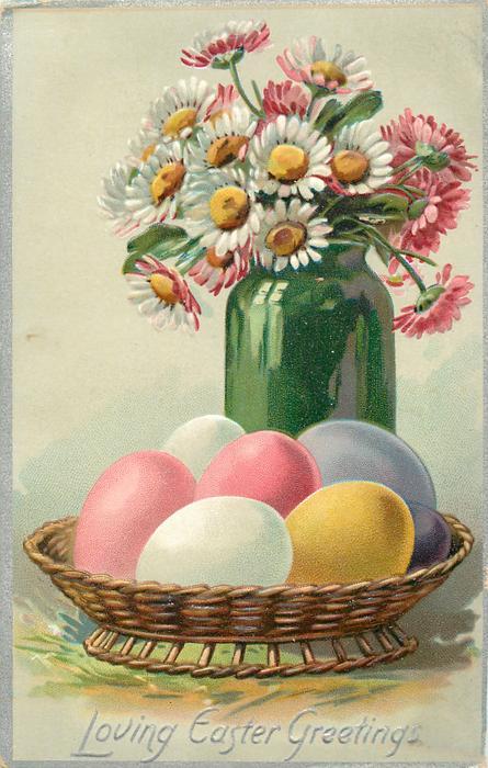 LOVING EASTER GREETINGS  daisies in green vase