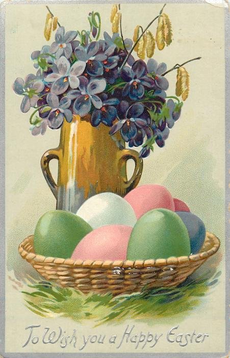 TO WISH YOU A HAPPY EASTER  violets in brown/grey vase