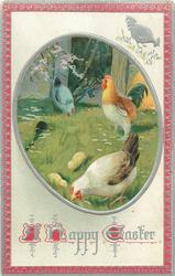 A HAPPY EASTER   oval inset of  white/ brown hen and rooster on grass, silver hen behind, two chicks, red/silver border