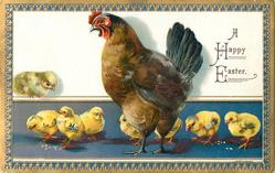 A HAPPY EASTER  (two styles) eight chicks, brown hen centre, one chick sits on ledge, purple ground, blue/gilt or blue/silver border