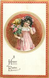 A HAPPY EASTER  round inset, girl in pink holds rose bush in pot under arm, chick on shoulder, letter in hand, red/silver border