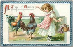 A JOYOUS EASTER  girl holds out food with her right hand to two chickens, hides more food behind, blue/silver border