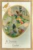 A JOYOUS EASTER  oval inset of two hens and rooster beside fence right, two chicks left, purple/silver border
