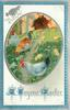 A JOYOUS EASTER  oval inset of two white/grey hens &  multicoloured rooster facing left, prominent centre path, with 3 chicks, blue/silver surround