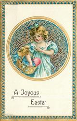 A JOYOUS EASTER  round inset, girl dressed in blue has basket of forget-me-nots & red egg, one chick, on her arm, blue/silver border