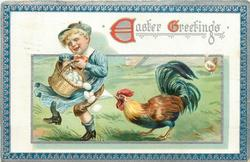 EASTER GREETINGS  cock, right, pulls at underpants of unhappy boy, left, carrying & spilling eggs, blue/silver border