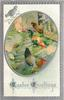 EASTER GREETINGS  oval inset of two hens and rooster beside fence right, two chicks left, purple/silver border